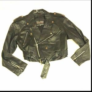 Wilson's Leather Biker Cropped Jacket Size Small